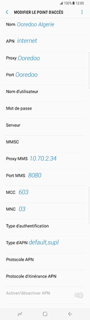 Ooredoo comment configurer le APN sur Sony Xperia XA